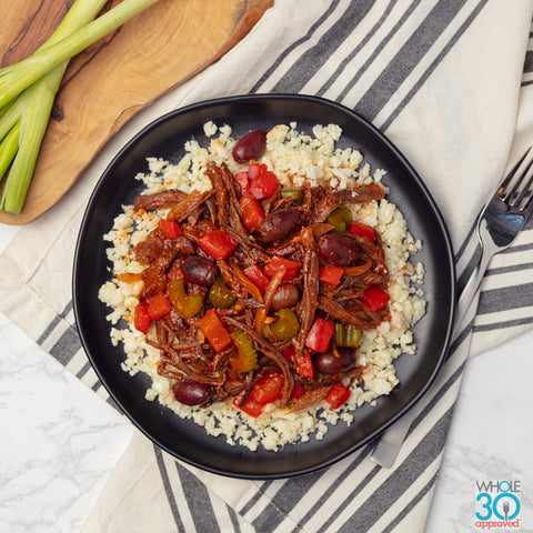 100% grass-fed slow-cooked beef with southwest veggies + cauliflower rice