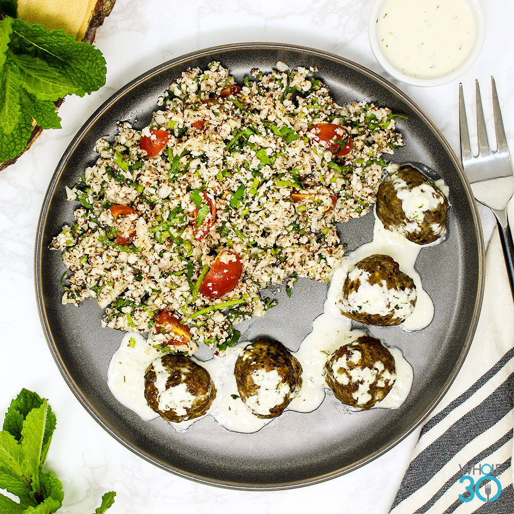 100% grass-fed mediterranean beef meatballs + tabbouleh with house tzatziki