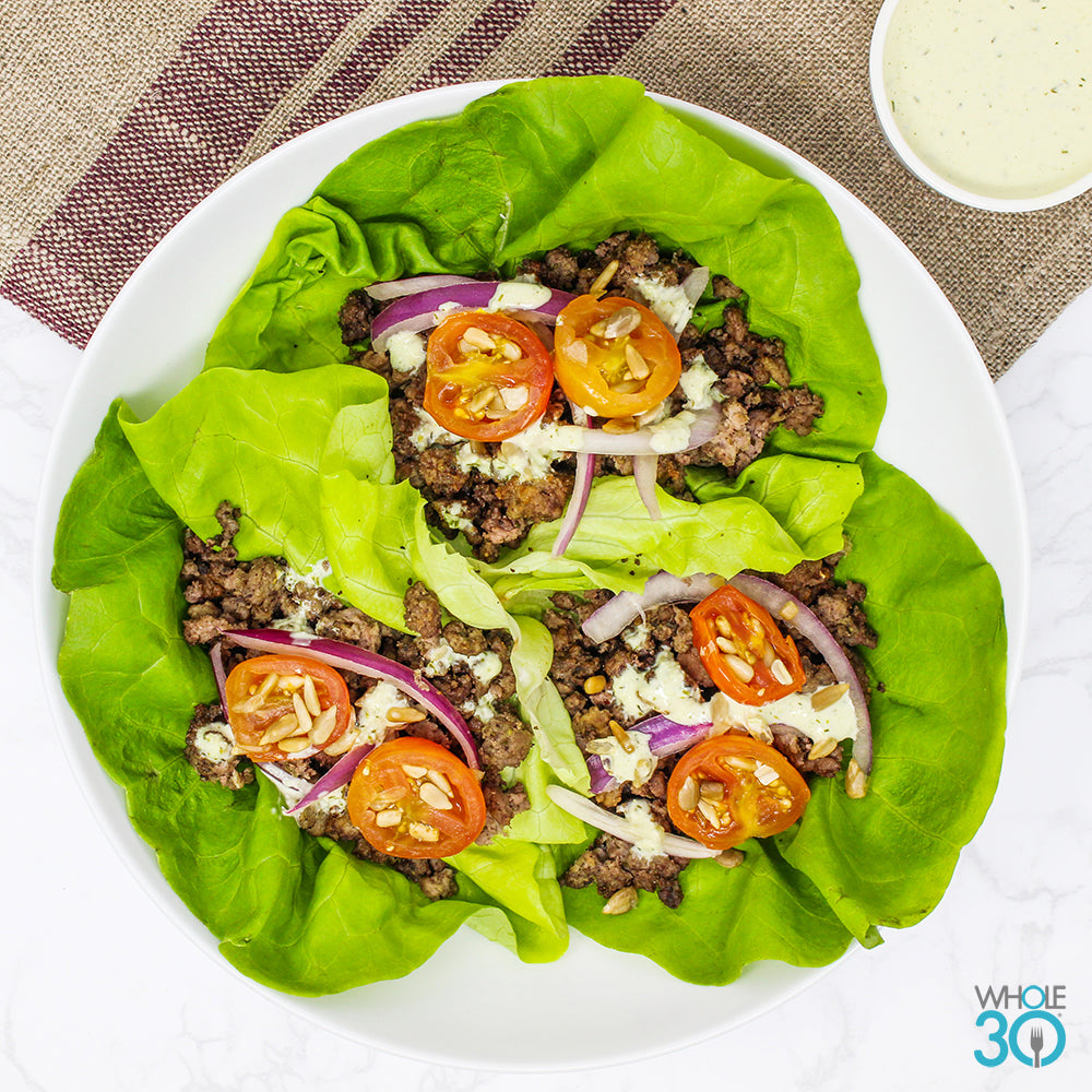 100% grass-fed beef gyro lettuce cups with house tzatziki