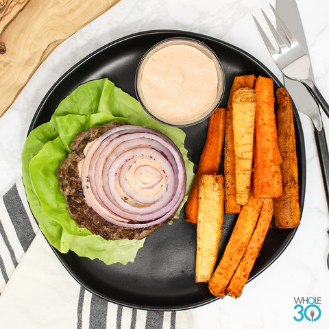 lettuce-wrap 100% grass-fed beef burger + fries with mm secret sauce