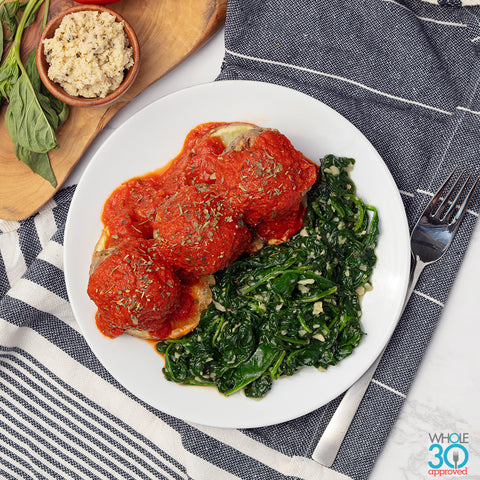 mm open-faced 100% grass-fed beef meatball sandwich and garlicky spinach with basil marinara + almond feta