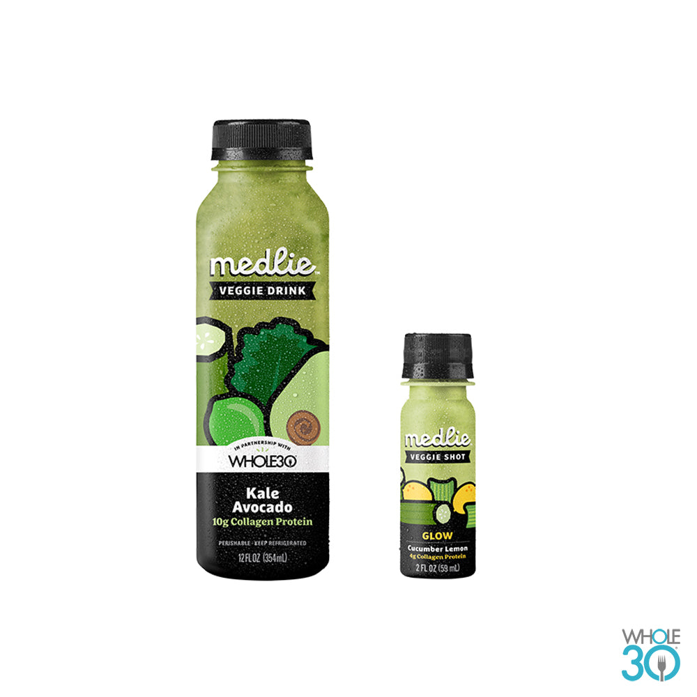 Medlie: Sample Pack - (1) Kale Avocado with Collagen 12oz + (1) Glow Shot with Collagen 2oz