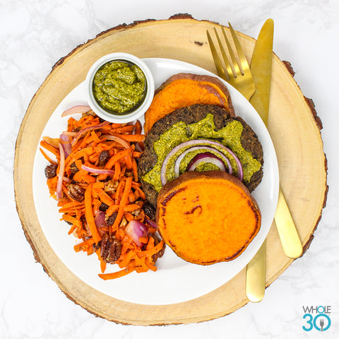 pesto mushroom burger on sweet potato bun + pecan carrot slaw