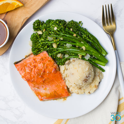 sweet chili wild salmon + broccolini and parsnip mash