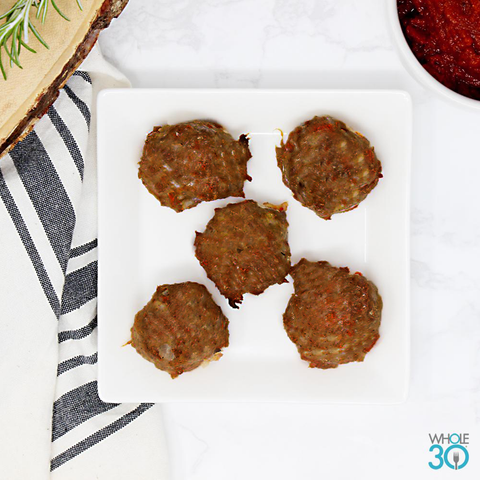 protein side: 100% grass-fed beef meatballs
