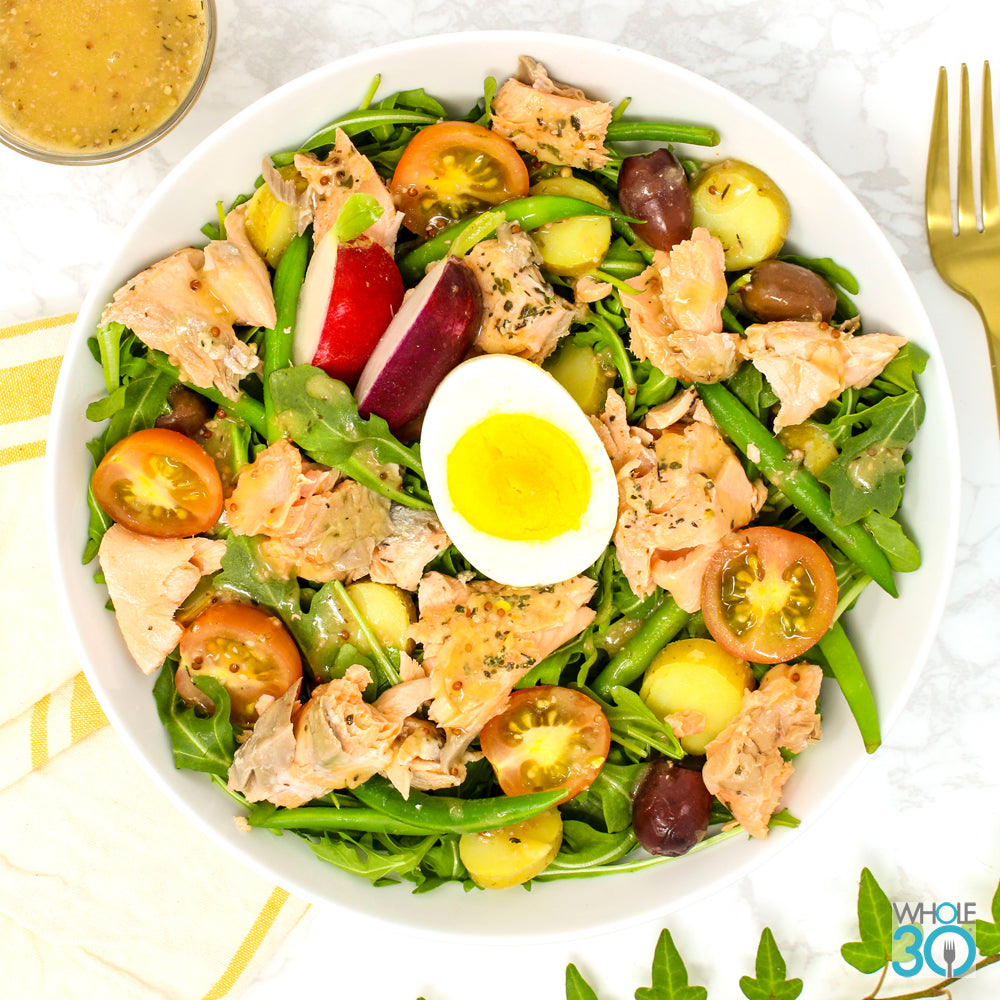 wild salmon nicoise salad with red wine vinaigrette