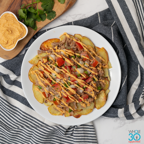 sweet potato nachos with pastured pork carnitas + mm cashew queso