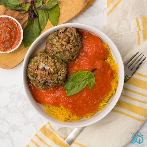 spaghetti squash and 100% grass-fed beef meatballs