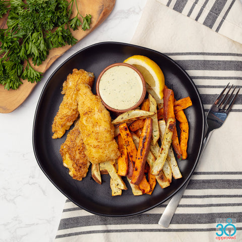 wild fish and chips with tartar sauce