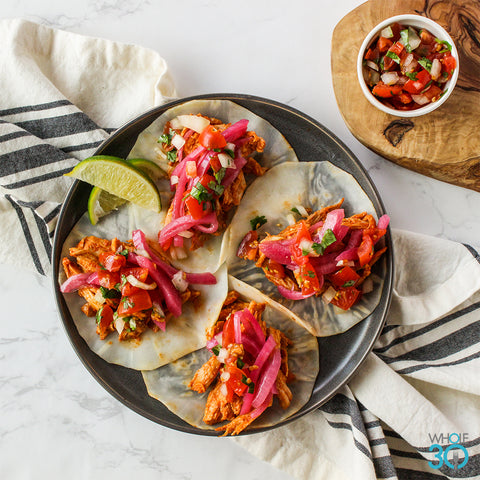 pasture-raised chipotle chicken tacos with pico de gallo