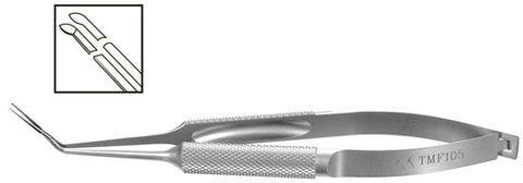 TMF105 Inamura Capsulorhexis Forceps Angled w/Marks, 1.8mm Incision, Stainless Steel - Titan Medical Instruments