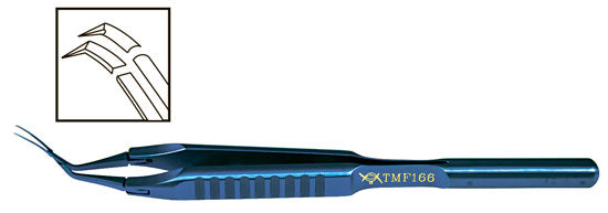 TMF166  Inamura 1.5 Cross Action Capsulorhexis Forceps Curved w/Marks, Titanium - Titan Medical Instruments
