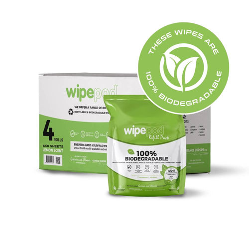 Biodegradable 650 sheets per roll @ 140 x 230  Viscose  30 gsm  - 4 rolls per box - Fits WIPEPOD