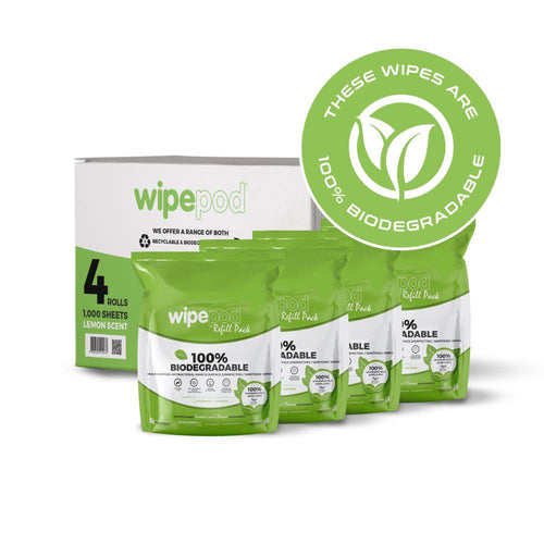 1000 Sheets Per Roll (4 Rolls Per Box) 100% Biodegradable Wet Wipes