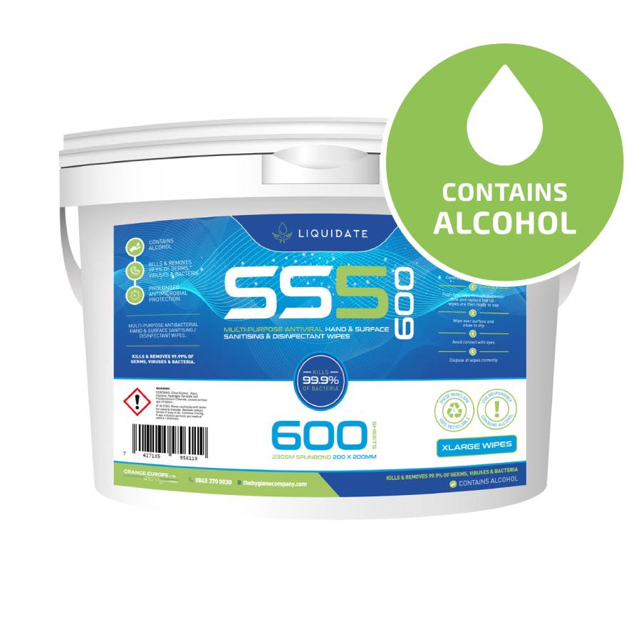 XL Liquidate SS5/600  –  30% Alcohol Wipes