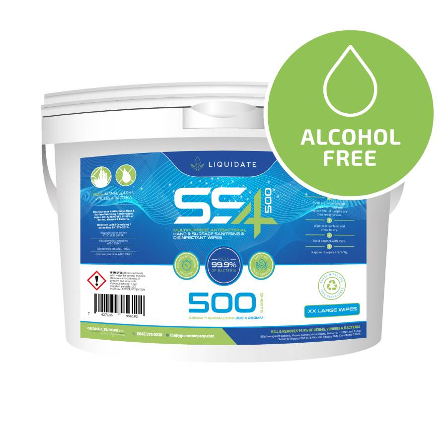 XXL SS4 500 Antibacterial Hand & Surface Wipes (No Alcohol)