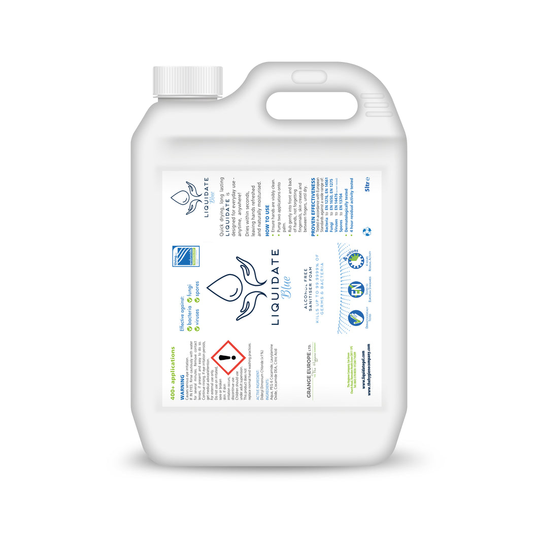 5 litres - Liquidate Hand sanitiser Refill Containers (£19.99 Each / £39.98 per box of 2)