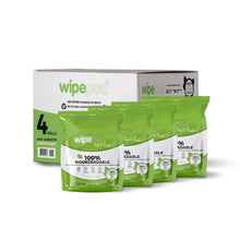 Load image into Gallery viewer, Biodegradable 650 sheets per roll @ 140 x 230  Viscose  30 gsm  - 4 rolls per box - Fits WIPEPOD