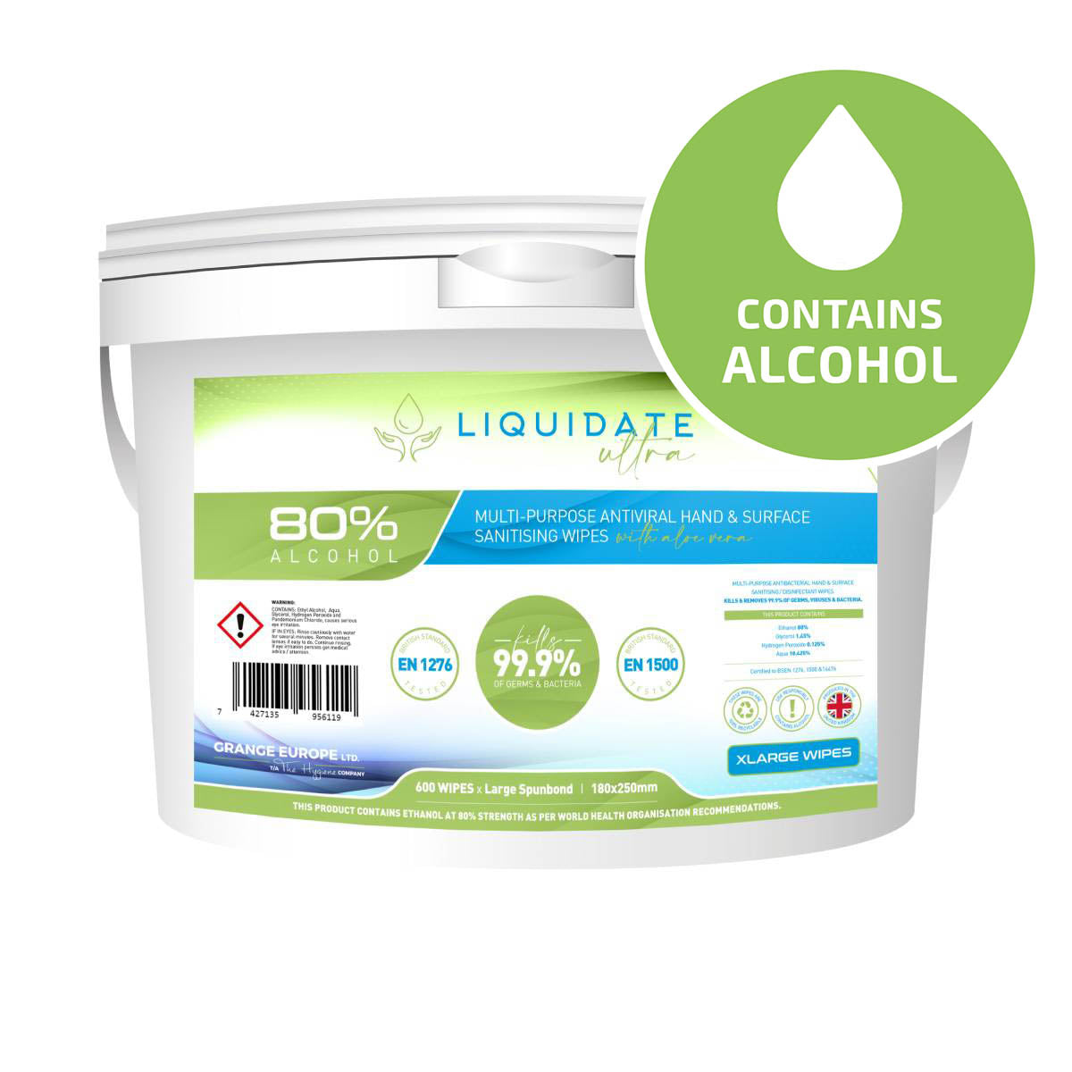 XL Liquidate SS4/600  – 80% Alcohol Wipes