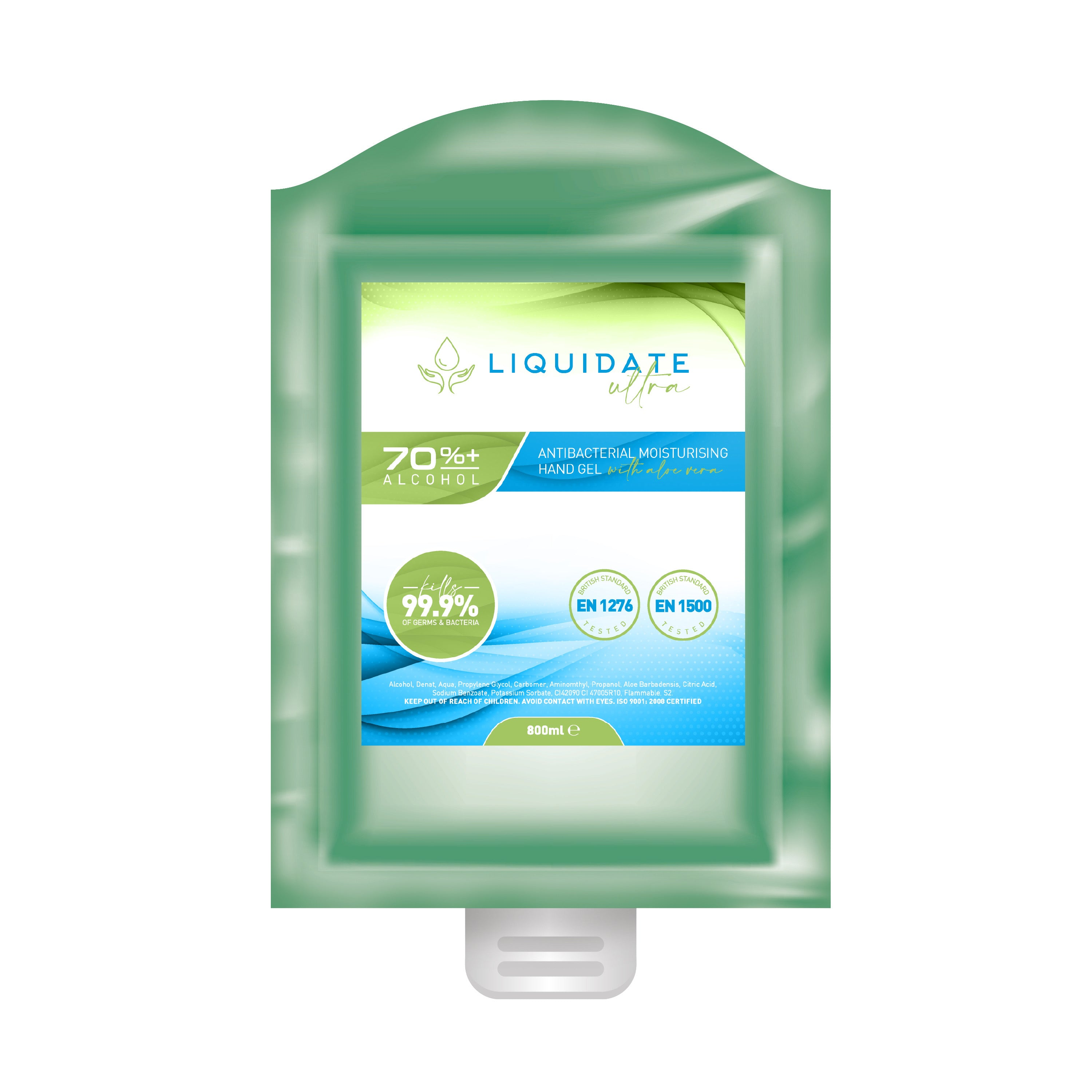 Liquidate Ultra 70% +Antibacterial, sanitiser  Alcohol Hand Gel: Box of 12 x 800ml  with Aloe Vera