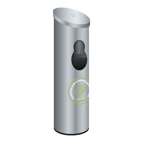 Brushed Stainless Steel Floor Standing Antibacterial Wet Wipes Dispenser Including built in waste bin & antibacterial hand gel dispenser