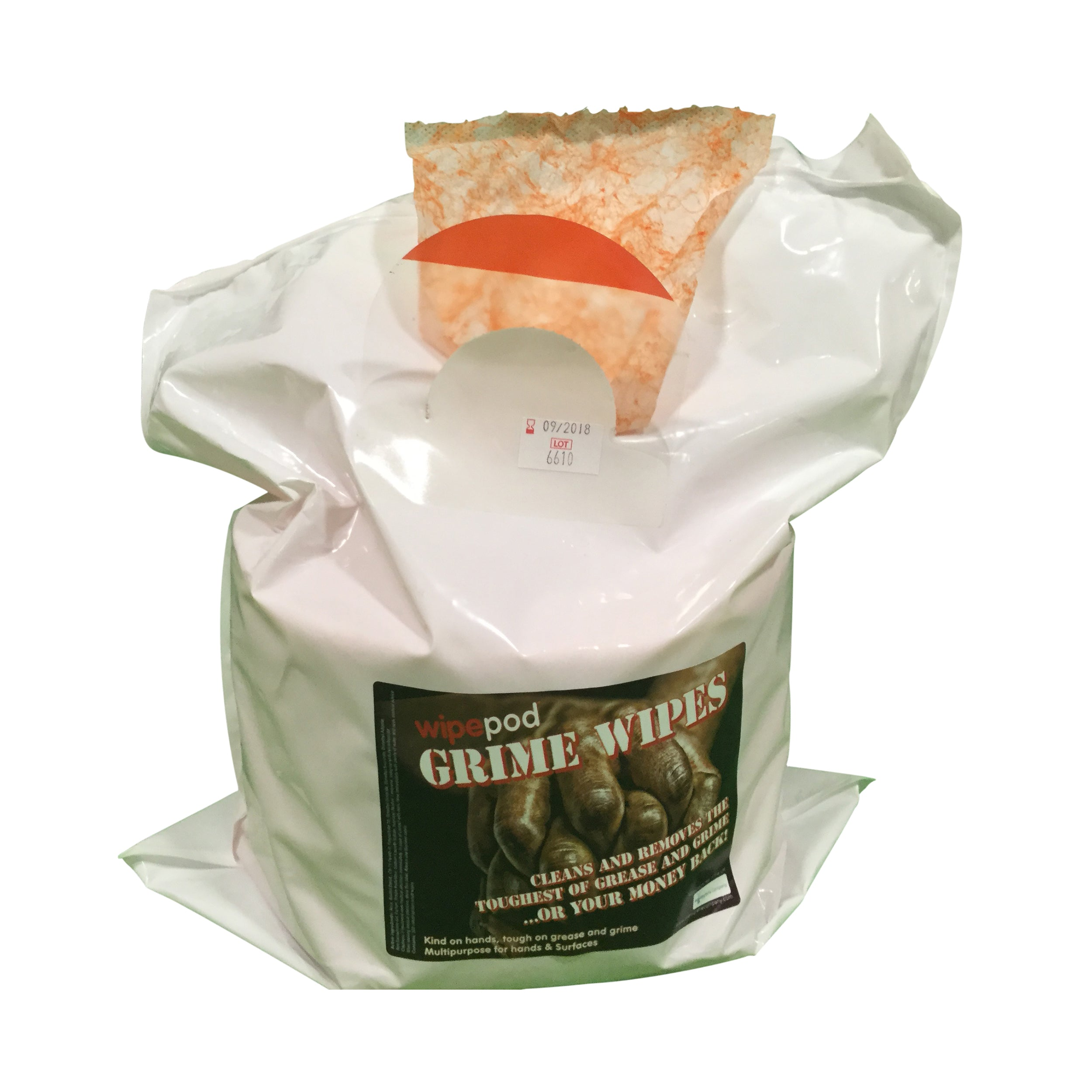 GRIME WIPES Orange Scrub Re-Fill 133x240mm Wet Wipes: 400 Sheet ( 4 Rolls per Box)