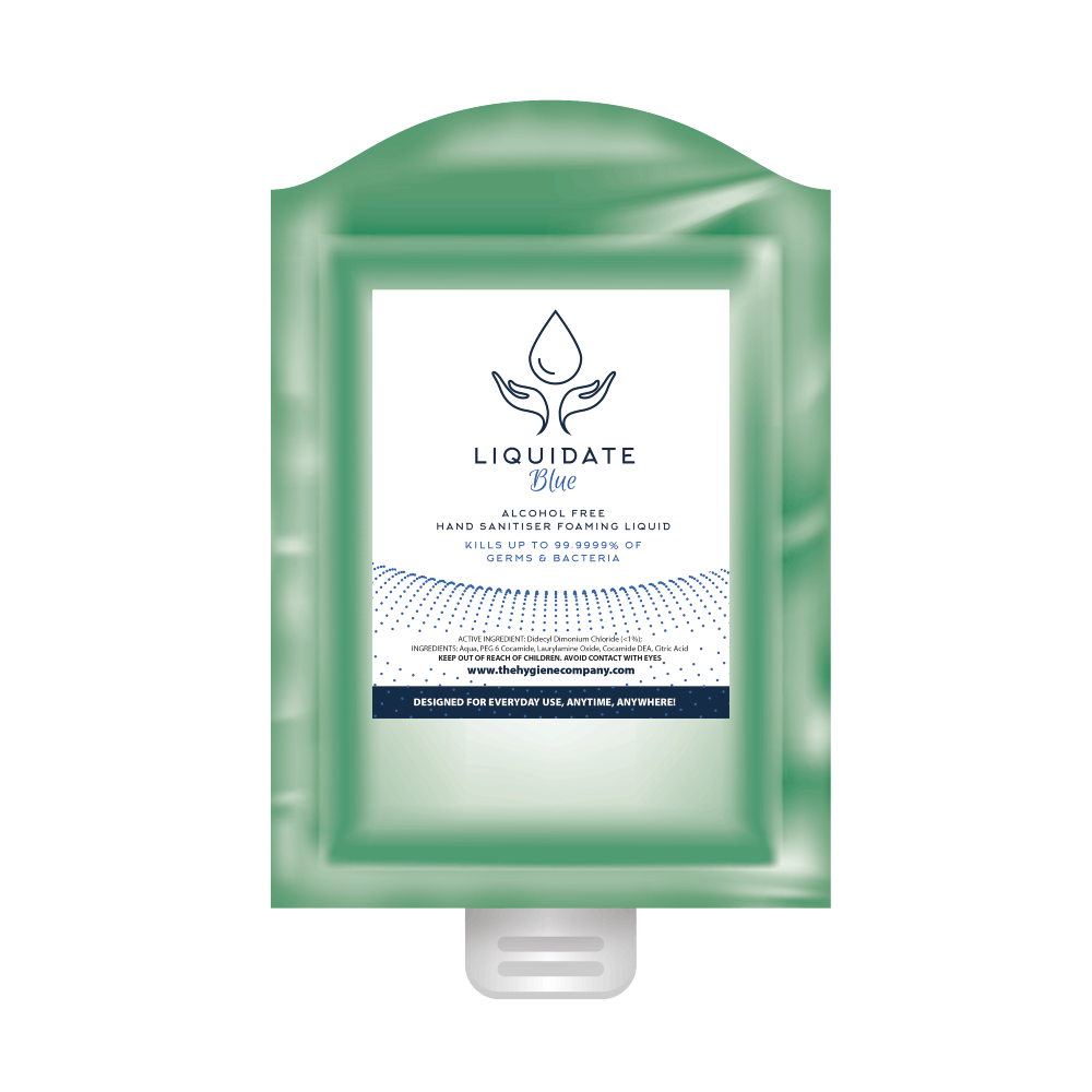 Liquidate Blue Alcohol FREE Hand sanitiser, foamer: Refill Pouch 800ml x 12 units