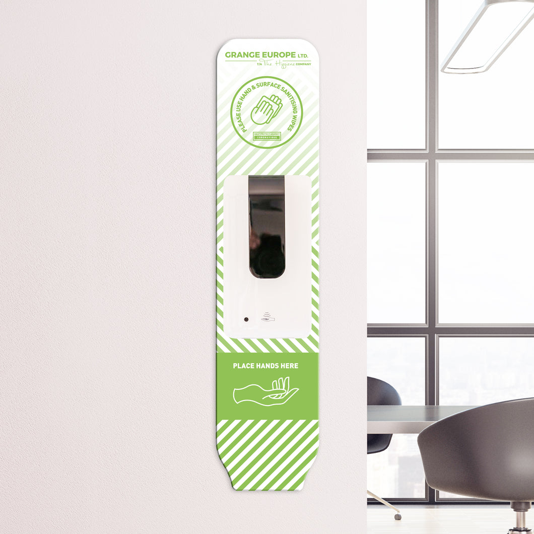 Wall Mounted Dispenser with Optional Custom Branding Backing Plate