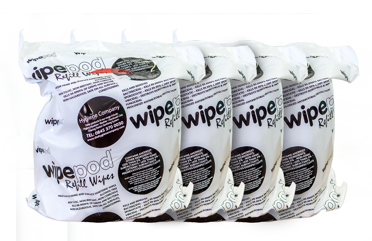 Fragrance Free Antibacterial Multipurpose Wet Wipes: 4 x 500 Large Sheets per Roll 280x240mm ( 4 Rolls per Box )
