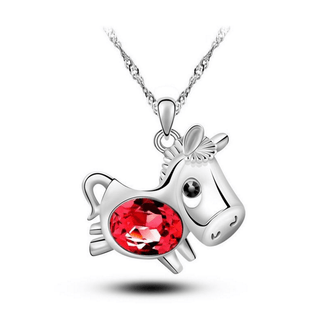 Cute Crystal Horse Pendant Necklace