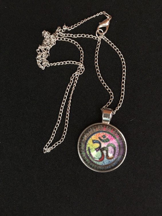 Yoga OM Glass Pendant Necklace