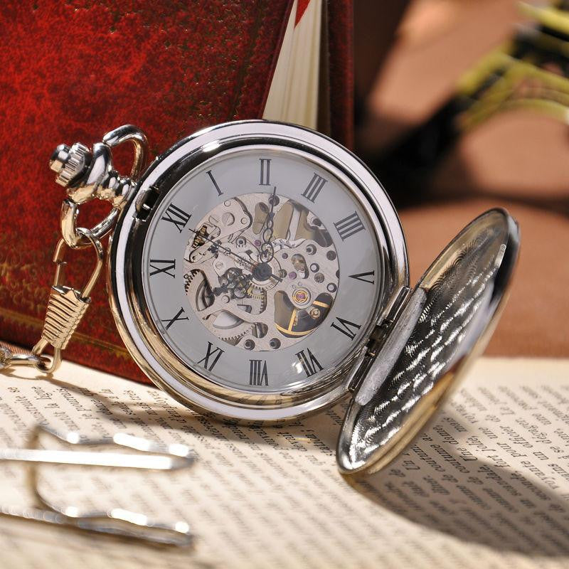 Stainless Steel Skeleton Steampunk Pocket Watch