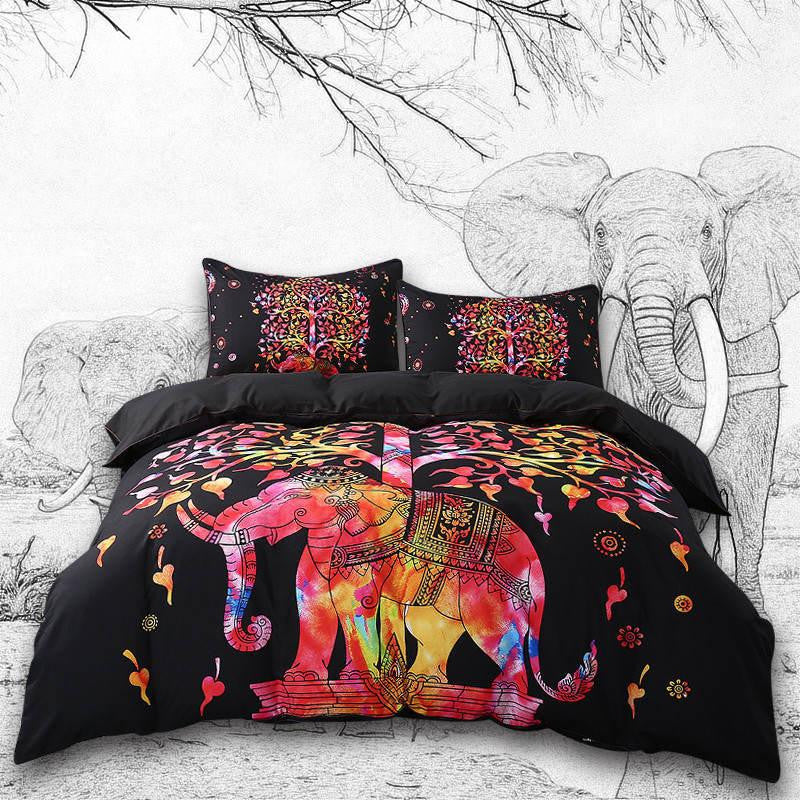 Boho Indian Elephant Bed Set