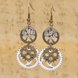 Antique Bronze Gear Steampunk Earrings