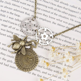 Steampunk Antique Bee & Clock Necklace