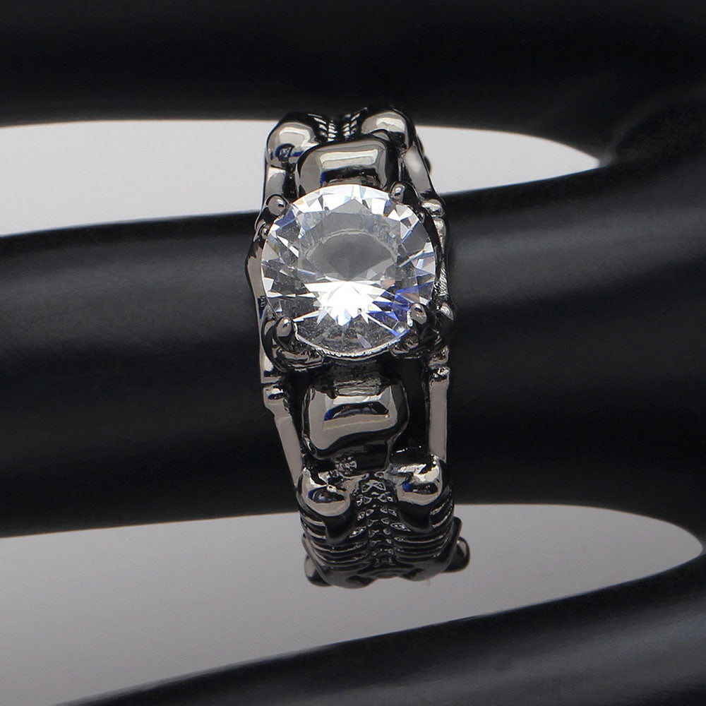 rebelsmarket zircon punk black stones rings ring products vintage skeleton victorian