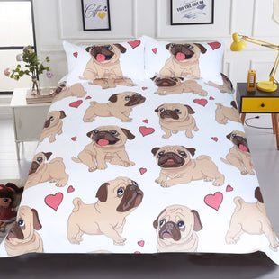 Cartoon Pug Bed Set