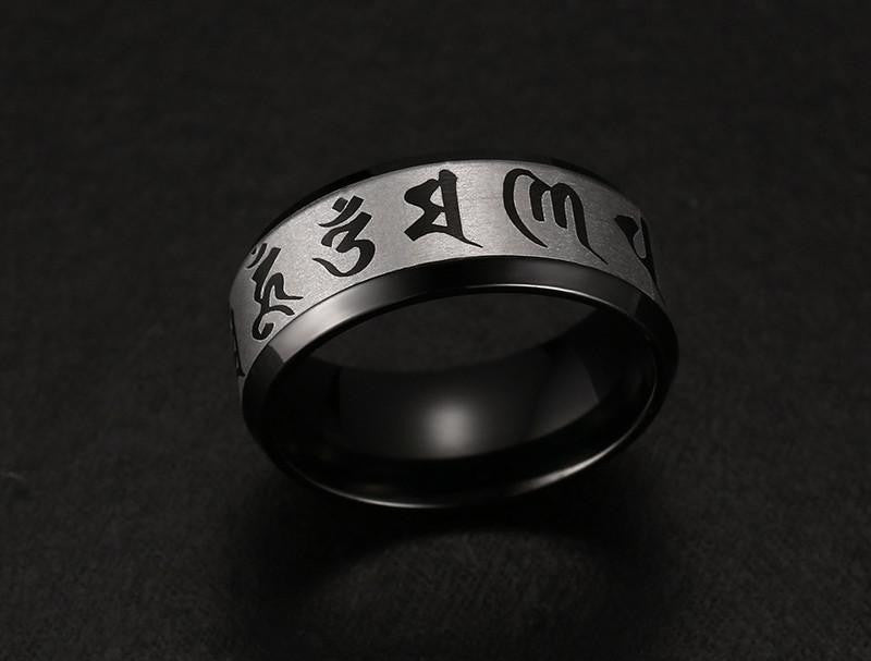 Om Mani Padme Hum Stainless Steel Ring