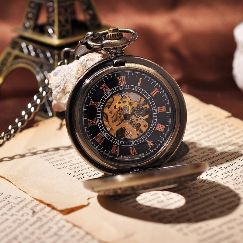 Wooden Bronzed Skeleton Steampunk Pocket Watch