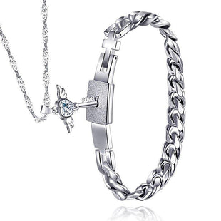Couples Stainless Steel Angel's Heart Key Necklace and Bracelet Set
