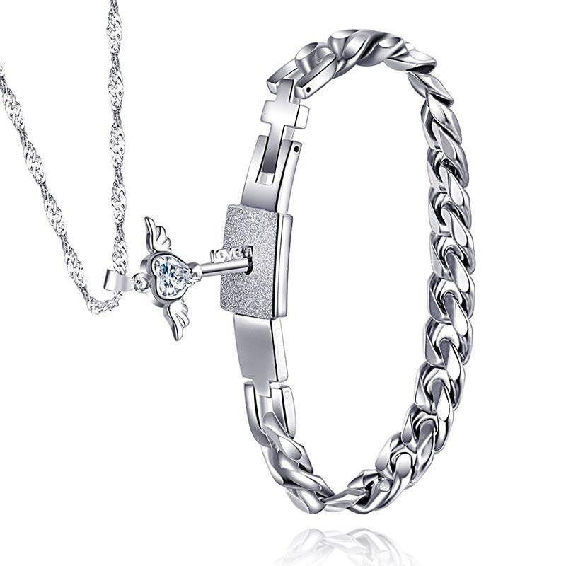 8d9cfe95f Couples Stainless Steel Angel's Heart Key Necklace and Bracelet Set – The  Distinguished Nerd