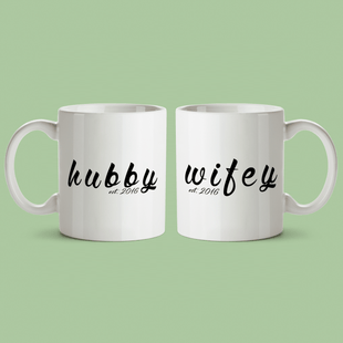 Custom Hubby/Wifey Calligraphy Mugs
