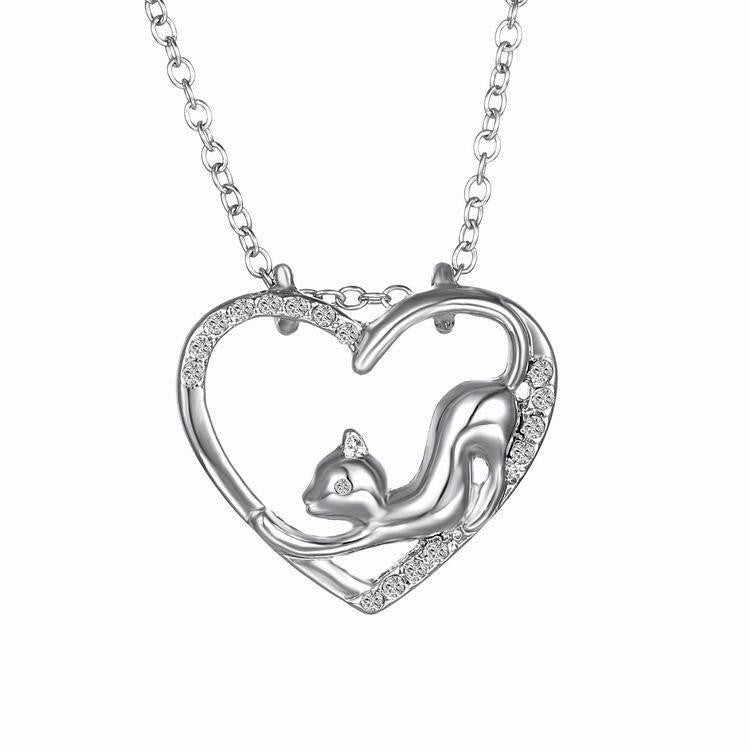 Cat In My Heart Crystal Pendant Necklace