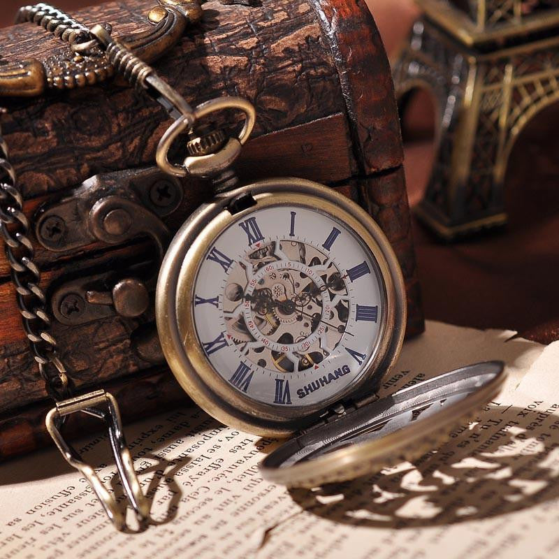 Sun Flower Skeleton Steampunk Pocket Watch