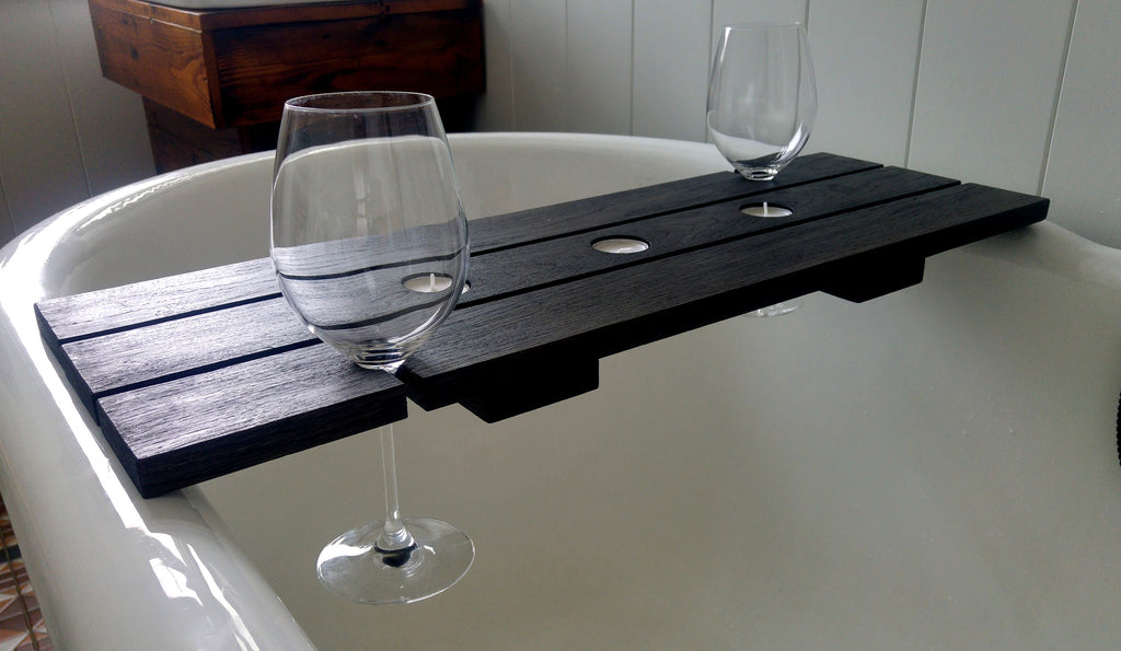 Bath Caddy with Tealight and Wine Glass Holders.