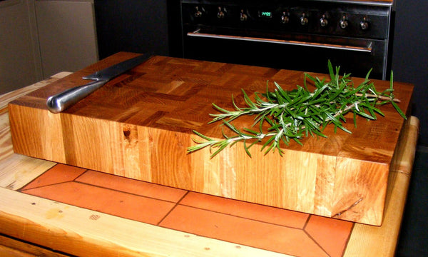 End Grain Oak Chopping Board / Butchers Block Slab - Panga Design
