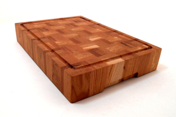 Moated End Grain Oak Chopping Board / Butchers Block Slab - Panga Design
