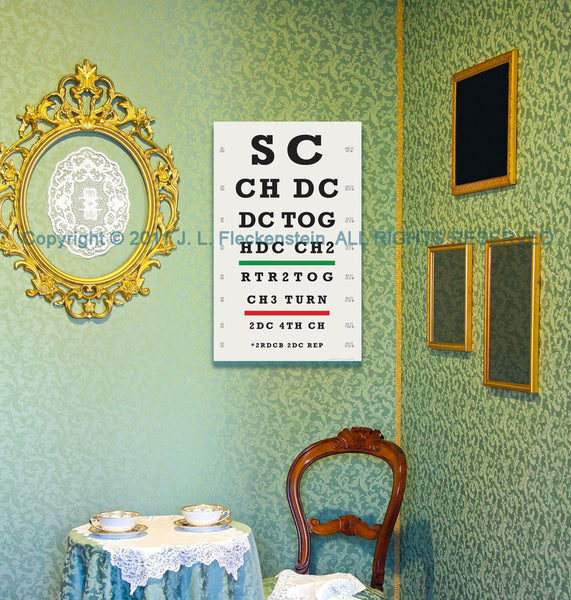 "Crocheter's Eye Chart (TM) Art Print for Crocheters 12"" x 18"""