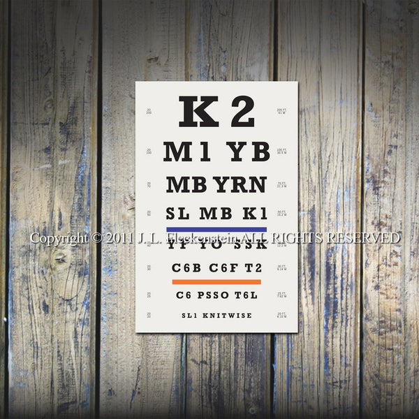 "Knitters Eye Chart (TM) Art Print 12"" x 18"" Featuring Knitting Abbreviations"