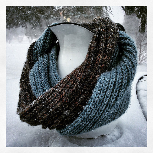 Knitting Pattern Cowl Infinity Scarf Digital Download Easy Quick